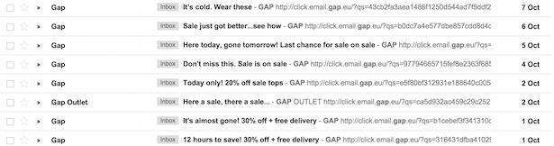 Gap - слишком много призывов к действию и акций