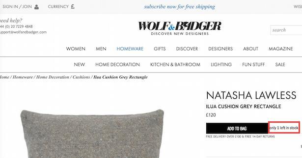 WolfandBadger - побуждение к покупке на сайте